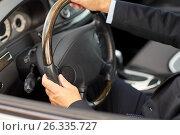Купить «senior businessman hands driving car», фото № 26335727, снято 16 июля 2016 г. (c) Syda Productions / Фотобанк Лори