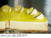 Купить «pieces of lime cake on stand», фото № 26335911, снято 17 февраля 2017 г. (c) Syda Productions / Фотобанк Лори