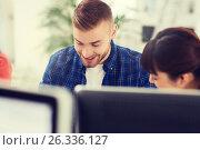 Купить «happy creative team or students working at office», фото № 26336127, снято 27 февраля 2016 г. (c) Syda Productions / Фотобанк Лори