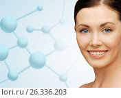 beautiful young woman face with molecules. Стоковое фото, фотограф Syda Productions / Фотобанк Лори