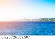 Pacific ocean with buildings of Vina del Mar, Chile (2016 год). Стоковое фото, фотограф Юрий Губин / Фотобанк Лори