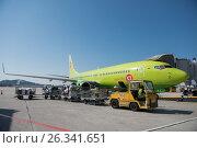 Наземное обслуживание самолета Boeing 737-8ZS авиакомпании S7Airlines в Международном аэропорту Сочи (2016 год). Редакционное фото, фотограф Екатерина Лызлова / Фотобанк Лори