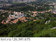 Aerial view to National Palace of Sintra, Portugal, фото № 26341675, снято 10 мая 2017 г. (c) Лиляна Виноградова / Фотобанк Лори