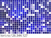 Купить «Dark blue occasional opacity mosaic over white», иллюстрация № 26344127 (c) TasiPas / Фотобанк Лори