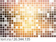 Купить «Yellow coral pink black occasional opacity mosaic over white», иллюстрация № 26344135 (c) TasiPas / Фотобанк Лори