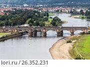 Купить «Elbe and the Marienbrucke bridge», фото № 26352231, снято 18 августа 2014 г. (c) Андрей Андронов / Фотобанк Лори
