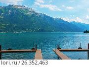 Купить «Пристань на Бриенцском озере, Швейцария», фото № 26352463, снято 1 апреля 2013 г. (c) Игорь Овсянников / Фотобанк Лори