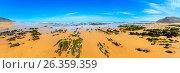Купить «Rock formations on sandy beach (Portugal)», фото № 26359359, снято 20 февраля 2019 г. (c) Юрий Брыкайло / Фотобанк Лори