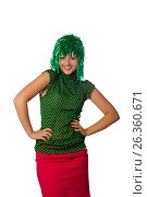 Купить «Beautiful young girl with green wig on white», фото № 26360671, снято 6 июля 2011 г. (c) Tatjana Romanova / Фотобанк Лори