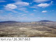 Купить «Panoramic view of Gobustan from Kichikdash mountain. Azerbaijan», фото № 26367663, снято 26 апреля 2017 г. (c) Аркадий Захаров / Фотобанк Лори