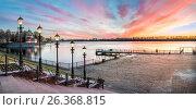 Купить «Закат на Волге в Угличе. Sunset on the Volga river in Uglich», фото № 26368815, снято 7 мая 2017 г. (c) Baturina Yuliya / Фотобанк Лори