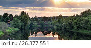 Купить «Рассвет на реке Нерль. Тверская область», фото № 26377551, снято 5 июня 2014 г. (c) Юрий Кирсанов / Фотобанк Лори