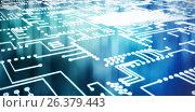 Купить «Composite image of digitally generated image of blue circuit board», иллюстрация № 26379443 (c) Wavebreak Media / Фотобанк Лори