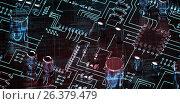 Купить «Composite image of lines of blue matrix and codes», иллюстрация № 26379479 (c) Wavebreak Media / Фотобанк Лори