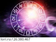 Купить «Composite image of digitally composite image of clock with various zodiac signs», иллюстрация № 26380467 (c) Wavebreak Media / Фотобанк Лори