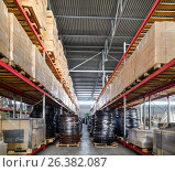 Купить «Long shelves with a variety of boxes and containers», фото № 26382087, снято 13 декабря 2016 г. (c) Андрей Радченко / Фотобанк Лори