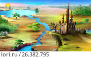 Купить «Landscape with rising sun, blue river and magical castle on a rock.Landscape with rising sun, blue river and magical castle on a rock», иллюстрация № 26382795 (c) Sergii Zarev / Фотобанк Лори