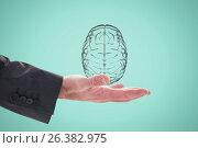 Купить «Hand holding a digital brain with green background», фото № 26382975, снято 22 мая 2019 г. (c) Wavebreak Media / Фотобанк Лори