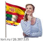 Купить «main language flags near young woman thinking», фото № 26387535, снято 30 марта 2020 г. (c) Wavebreak Media / Фотобанк Лори