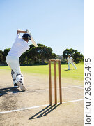 Rear view of cricket player batting while playing on field. Стоковое фото, агентство Wavebreak Media / Фотобанк Лори