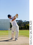 Cricket player batting on field against sky. Стоковое фото, агентство Wavebreak Media / Фотобанк Лори