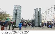Demonstration of military equipment near Tver regional academic drama theater (2017 год). Редакционное видео, видеограф Елена Абдураманова / Фотобанк Лори