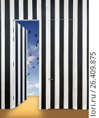 Купить «Современный интерьер со стеной в черно-белую полоску. Невидимые двери и одна открытая дверь с видом на небесный пейзаж с птицами и легкими облаками.», фото № 26409875, снято 12 ноября 2019 г. (c) Светлана Васильева / Фотобанк Лори