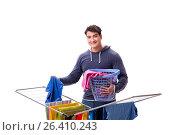 Купить «Husband man doing laundry isolated on white», фото № 26410243, снято 6 марта 2017 г. (c) Elnur / Фотобанк Лори
