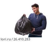 Купить «Man with garbage sack isolated on white», фото № 26410283, снято 6 марта 2017 г. (c) Elnur / Фотобанк Лори