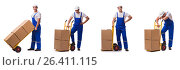 Купить «Man delivering box isolated on white», фото № 26411115, снято 28 октября 2016 г. (c) Elnur / Фотобанк Лори