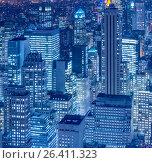Купить «View of New York Manhattan during sunset hours», фото № 26411323, снято 20 декабря 2013 г. (c) Elnur / Фотобанк Лори