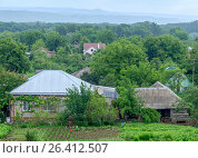 The cottage top view with a kitchen garden and trees around (2017 год). Редакционное фото, фотограф Бронислав Богачевский / Фотобанк Лори