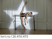 Купить «Ballerina posing in studio», фото № 26416415, снято 9 мая 2016 г. (c) Andriy Bezuglov / Фотобанк Лори