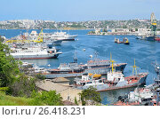 Купить «Севастопольский порт в ясную погоду», фото № 26418231, снято 15 июля 2020 г. (c) Овчинникова Ирина / Фотобанк Лори