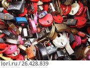 Купить «Замки любви на дереве на Лужковом мосту в Москве», фото № 26428839, снято 12 августа 2012 г. (c) Александр Гаценко / Фотобанк Лори