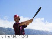 Купить «Baseball playing hitting with bat against mountain», фото № 26441043, снято 9 февраля 2017 г. (c) Wavebreak Media / Фотобанк Лори