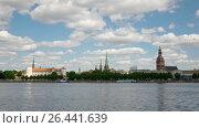 Купить «Latvia. Clouds move on the blue sky over Riga and Daugava river.Timelapse,», видеоролик № 26441639, снято 2 июня 2009 г. (c) Куликов Константин / Фотобанк Лори