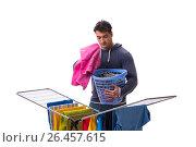 Купить «Husband man doing laundry isolated on white», фото № 26457615, снято 6 марта 2017 г. (c) Elnur / Фотобанк Лори