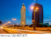 Купить «Baku - MAY 30, 2015: SOCAR HQ on May 30 in Baku, Azerbaijan. SOC», фото № 26457871, снято 30 мая 2015 г. (c) Elnur / Фотобанк Лори