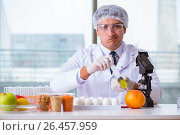 Купить «Nutrition expert testing food products in lab», фото № 26457959, снято 14 марта 2017 г. (c) Elnur / Фотобанк Лори