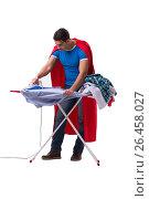 Купить «Super hero man husband ironing isolated on white», фото № 26458027, снято 5 января 2017 г. (c) Elnur / Фотобанк Лори