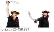 Купить «Young pirate holding sword isolated on white», фото № 26458887, снято 15 января 2015 г. (c) Elnur / Фотобанк Лори