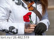 Купить «Красные гвоздики в руках женщины и Георгиевская лента, прикрепленная на ремешок сумки», фото № 26482519, снято 9 мая 2017 г. (c) Кекяляйнен Андрей / Фотобанк Лори