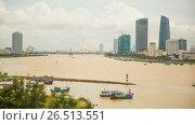 Купить «Panorama of Da Nang city skyline», видеоролик № 26513551, снято 19 марта 2015 г. (c) Mikhail Davidovich / Фотобанк Лори
