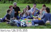 Купить «Cheerful males and females eating different food on picnic», видеоролик № 26515355, снято 15 мая 2017 г. (c) Яков Филимонов / Фотобанк Лори