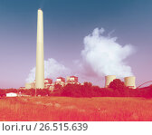 Купить «Plant with chimney and cooling towers», фото № 26515639, снято 22 октября 2018 г. (c) Яков Филимонов / Фотобанк Лори