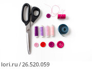 Купить «scissors, sewing buttons, threads and tape measure», фото № 26520059, снято 29 сентября 2016 г. (c) Syda Productions / Фотобанк Лори