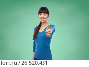 Купить «happy smiling young woman showing thumbs up», фото № 26520431, снято 18 марта 2017 г. (c) Syda Productions / Фотобанк Лори