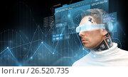 Купить «man in virtual reality glasses and microchip», фото № 26520735, снято 17 ноября 2012 г. (c) Syda Productions / Фотобанк Лори