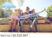 Купить «happy teenage students taking selfie by smartphone», фото № 26520907, снято 21 мая 2016 г. (c) Syda Productions / Фотобанк Лори